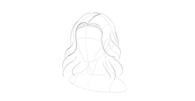 wavy hair waves drawing