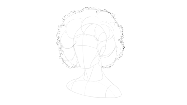 afro hair curly outline