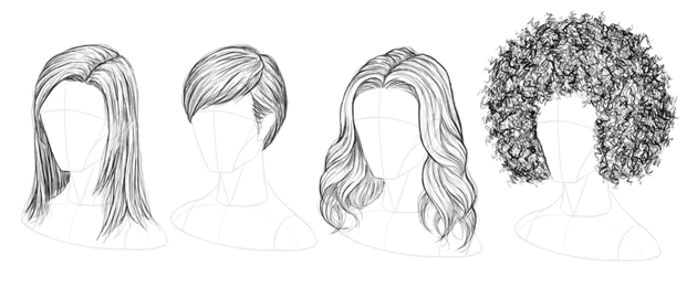 how to draw hair long short wavy afro