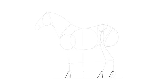 horse drawing hooves simple