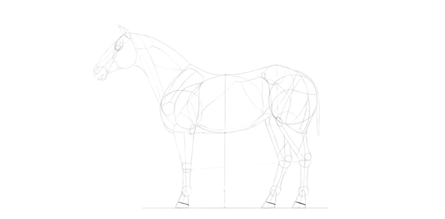 horse drawing simple hooves
