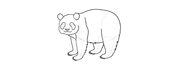panda drawing claws outline