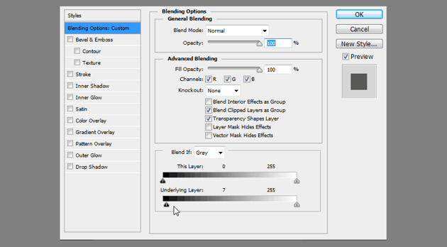 using blend if to adjust transparency