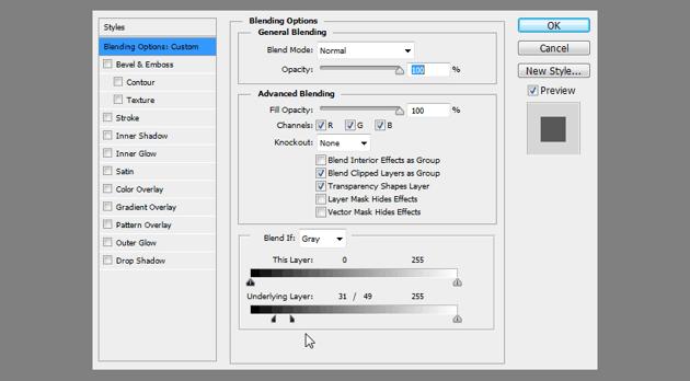 adjusting transparency of layer