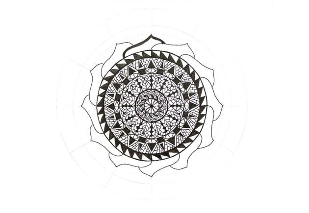 mandala thick frame petals