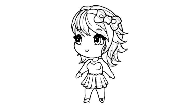 drawing chibi party girl