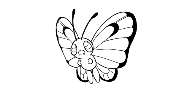 how to draw butterfree step by step