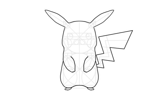 outline pikachu body
