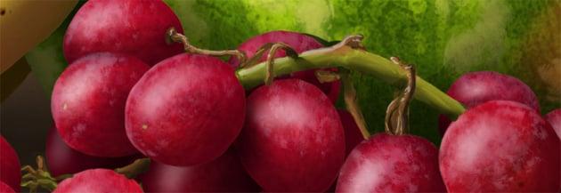 add shine to grape sprig