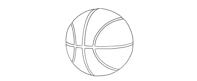 how to draw basketball step by step