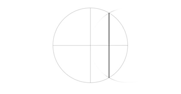 half of radius marked