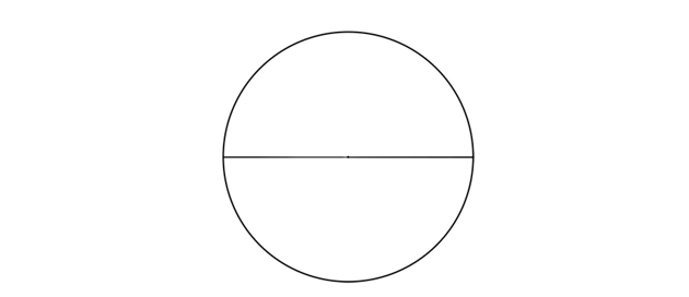 draw circle with horizontal diameter