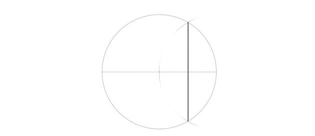 select middle of radius