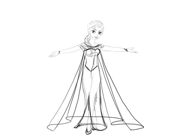 draw elsa dress