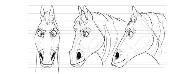 how to draw disney horse head