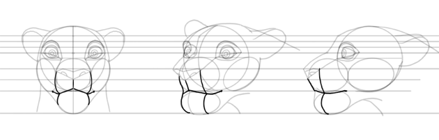 draw lion mouth