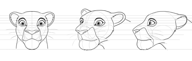 how to draw lion king head