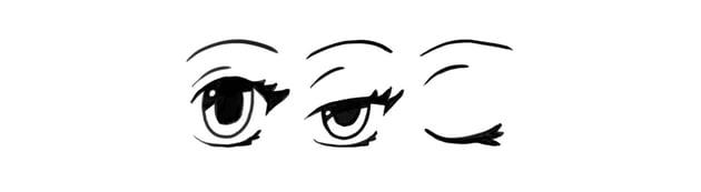 manga eyes closed blinking wink
