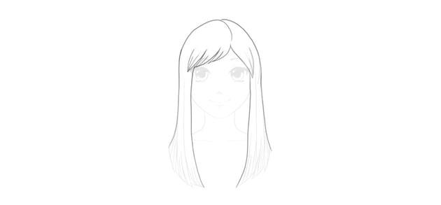 draw anime straight hair