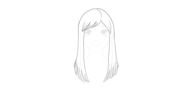 finsih straight hair drawing