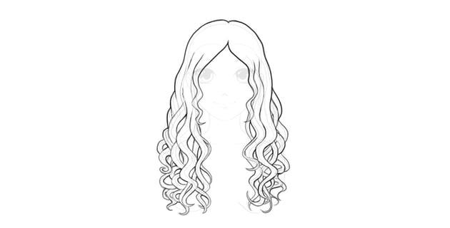 simple wavy hair drawing