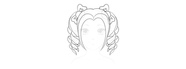 outline pigtails hairstyle