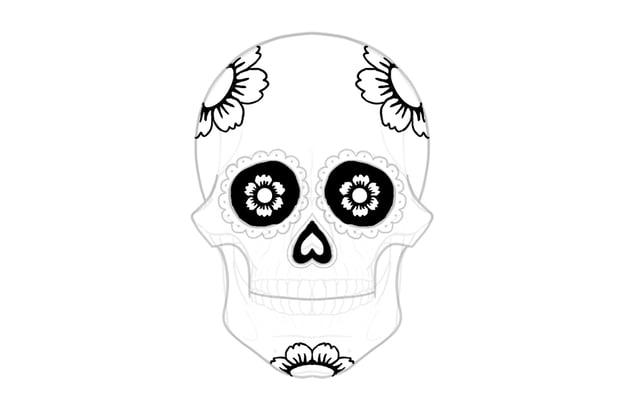 draw flowers on sugar skull