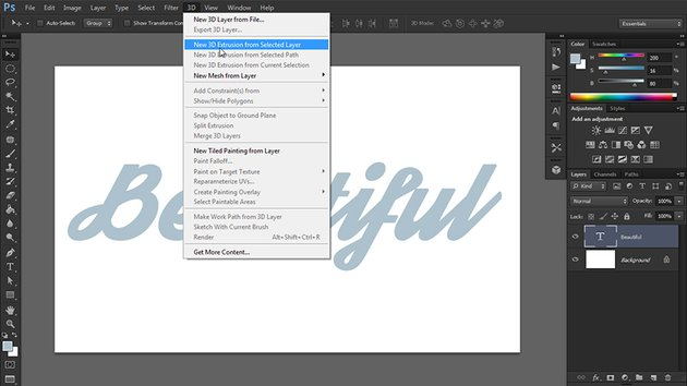turn text into 3d in photoshop