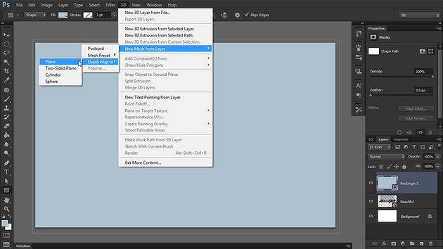 turn rectangle into 3d in photoshop