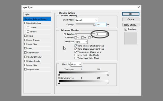 Glass Text Effect Photoshop Tutorial reset fill opacity