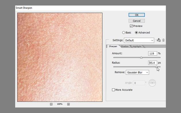 sharpen skin texture