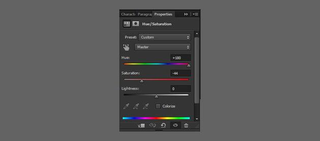 change hue saturation