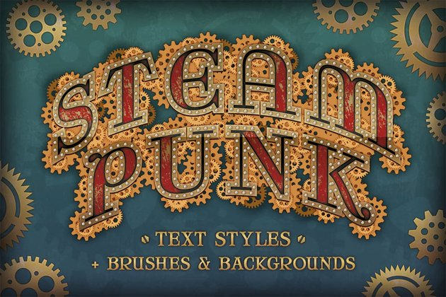 Steam Punk Text Styles Brushes and Backgrounds