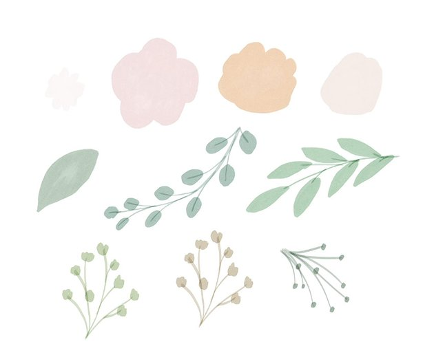 paint various leaves and flowers