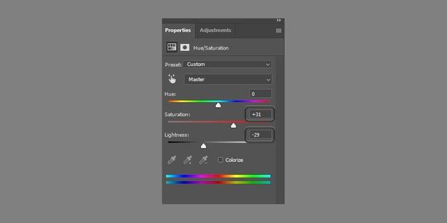 change hue saturation settings