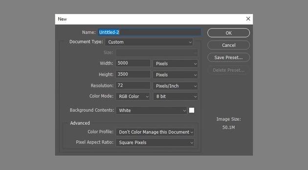 photoshop file dimensions