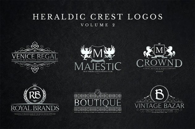 Heraldic Crest Logos Set