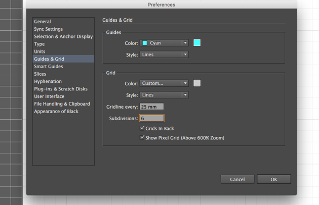 adobe illustrator cc preferences grid guides 25mm 6 subdivisions eid greeting design
