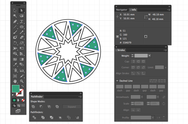 adobe illustrator direct selection tool group obeject same color pattern eid greeting miss chatz arabic