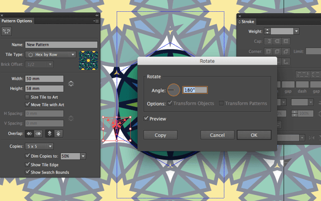 adobe illustrator create three point star expand fill stroke object color eid fitr pattern tile