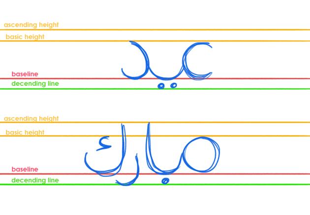 sketch arabic calligraphy letter form ascending descending baseline round type fite eid mubarak