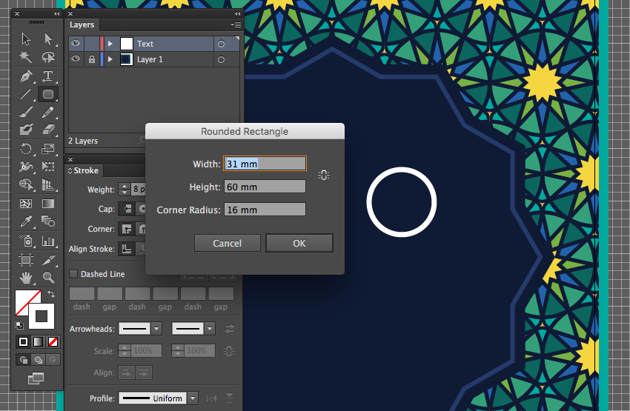 rounded rectangle tool dialog box width height adobe illustrator eid fitr greeting type lettering miss chatz