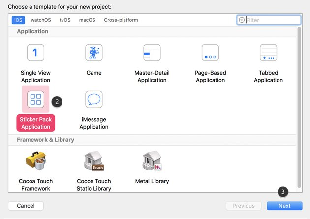 Xcode Select sticker pack application
