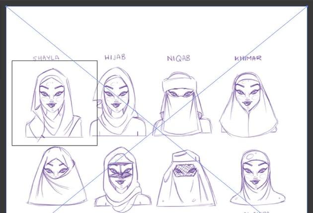 Place sketch onto artboard hijab adobe illustrator