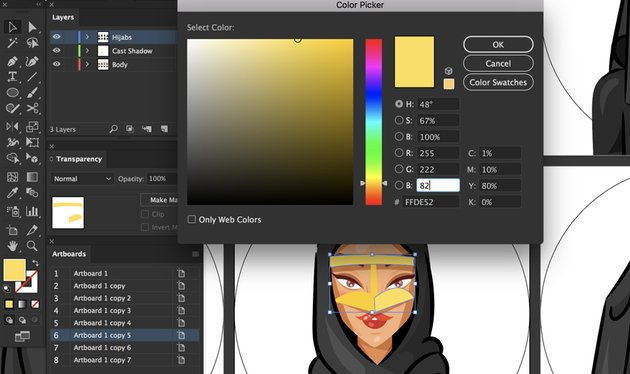 add color to the burqa
