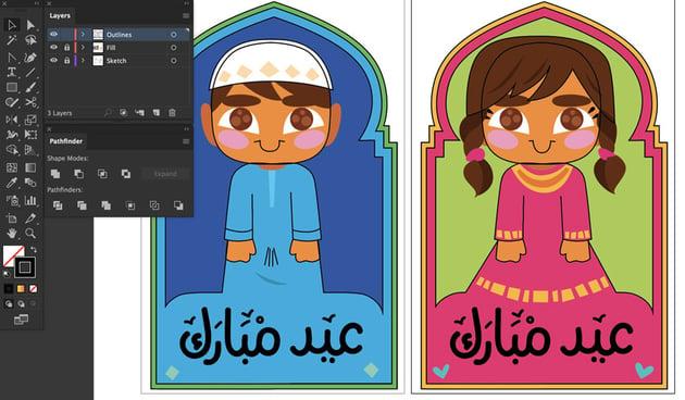 dlete linework artwork  fill eid mubarak money cards