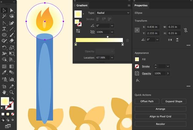 create ellipse glow with gradient arrange send to back