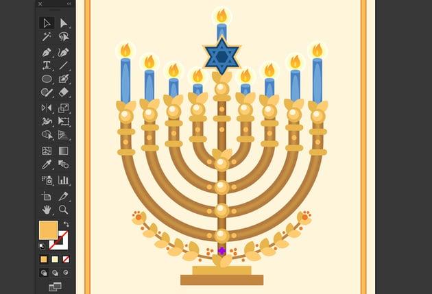 ellipse tool to decorate menorah branches