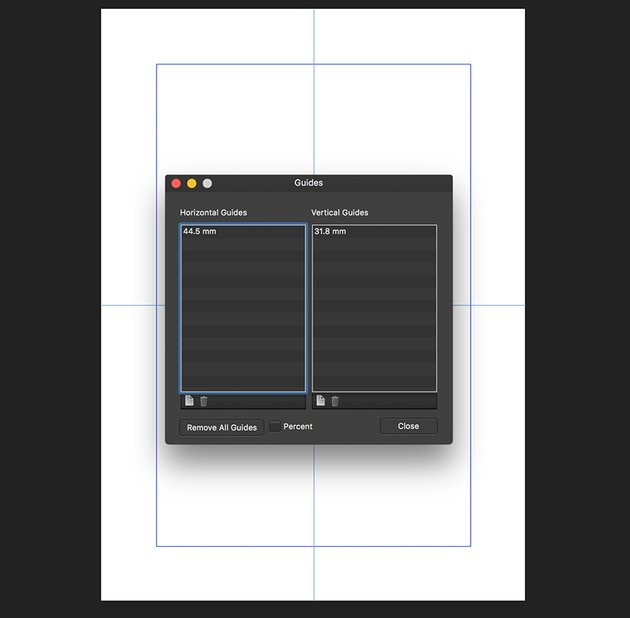 Create horizontal and vertical Guides in Guides Manager