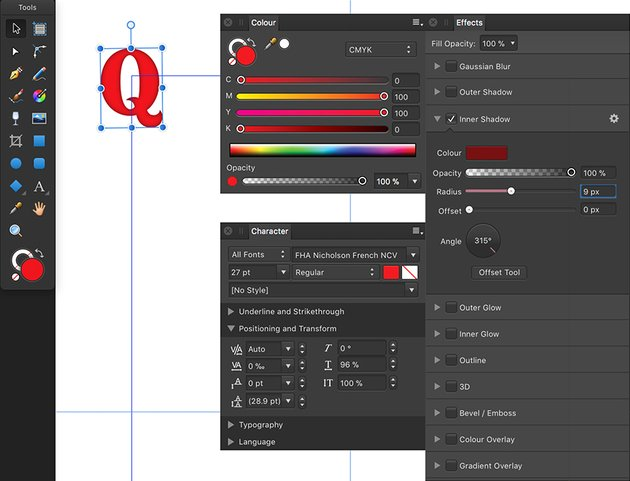 Use artistic text tool to add text and effects apply inner shadow